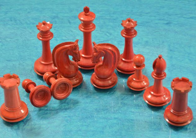 Chess pieces pink ivory