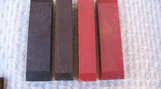 Knife handles - 2 African Blackwood & 2 Pink ivory