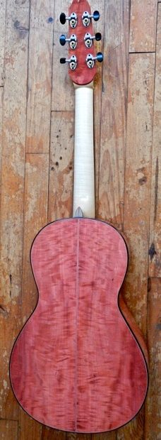 Pink ivory curly guitar by Marc Maingard