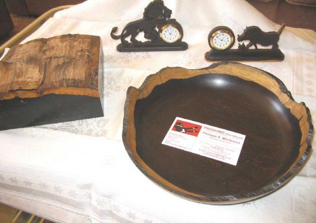 Top of the log of African Blackwood as bowl blank