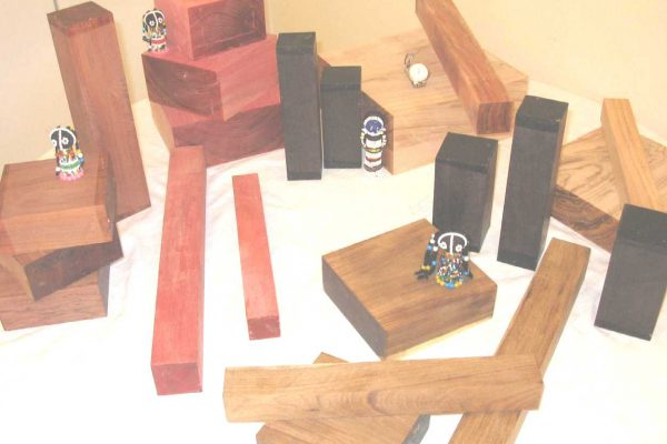 Turnery squares, pink ivory, african blackwood, wild olive, african cocobolo and mopane