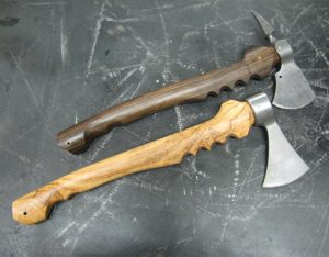wild olive and black chacate axes made by turners
